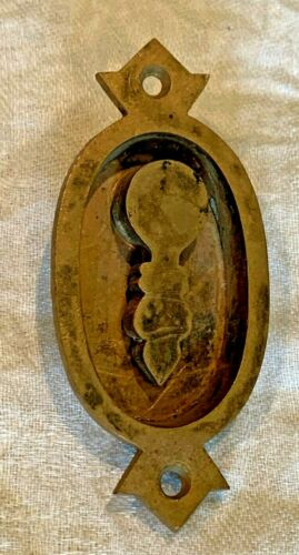 Antique Brass Recessed Swing Key Hole Cover Escutcheon Pocket Door Furniture