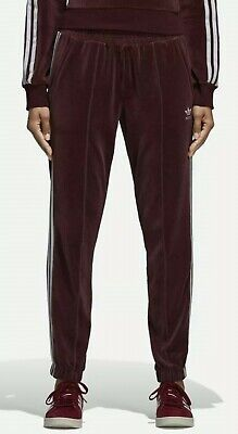 Womens Adidas 3 Stripe Velvet Velour Cuffed Tracksuit Jogger Bottoms UK10 DH3114