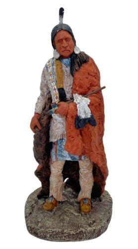 Daniel Monfort Peace Pipe 1991 Original Western Hydrostone Sculpture Statue 16.5
