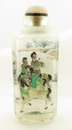 Vintage Chinese Faceted Peking Snuff Bottle w/ Classical Scene.