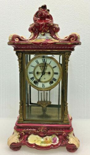 Rare Antique 1905 Ansonia Red Crystal Regulator #5 Royal Bonn Porcelain