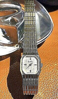 BULOVA: Swiss/GoldTone Case, Face & Band Ladies Watch. P8