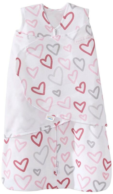 Halo Sleep Sack Swaddle Wearable Blanket Newborn Pink - Hearts - Used