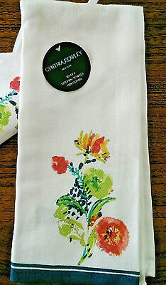 Cynthia Rowley Floral Kitchen Towels Set 2 100% Cotton Twill Multi Color 18 x 28