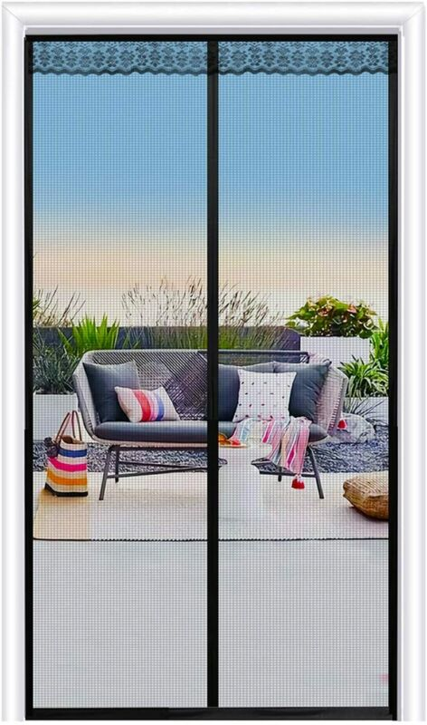 Hands-Free Magnetic Screen Door with Heavy Duty Strong Magnets and Mesh Curtain