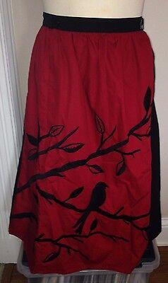 NWOT eShakti Black Red Long  A Line Career Skirt Embroidered Bird Front 10  12 M
