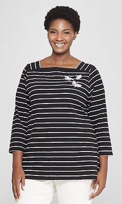Boatneck Womens Shirt (Ava & Viv Womens T-Shirt Boatneck Black White Striped 3/4 Sleeve Top Sz Various)