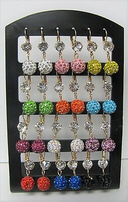 Wholesale Earrings 12 Pairs Crystal Ball Dangle Earrings Mixed Colors # 7346 New
