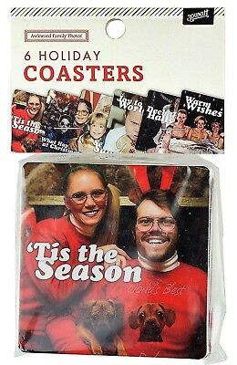 Awkward Family Photos 6 Holiday Coasters Christmas Drink Coaster Set NEW!!