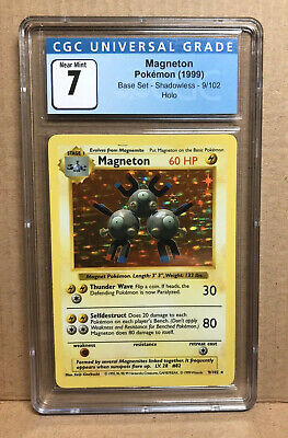Graded Pokemon Base Set 9/102 Shadowless Magneton Holo CGC 7 PSA Equivalent