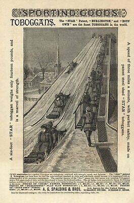 VINTAGE ADVERTISEMENT - SLEDS - TOBOGGAN ILLUSTRATION - 1866 - A. G. SPAULDING