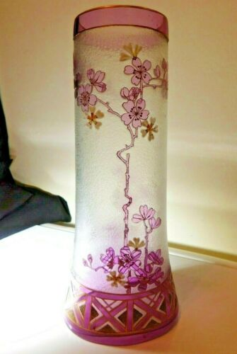 "PRISTINE Antique JOSEF RIEDEL 9.5"" Cameo Glass Vase Enameled & Gilt Floral Decor"