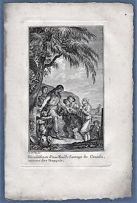 vintage original 1780 engraving Indian American native help French Canada