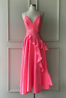 alex perry : paxton sequin ruffle dress pink size: 6 -100% AUTHENTIC- $1900
