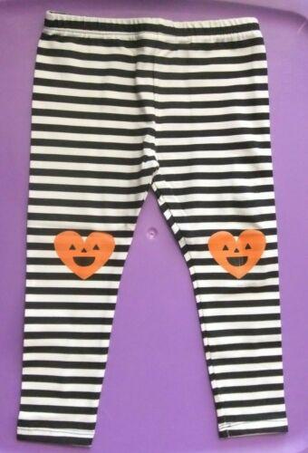 NWT Toddler Girls 2T HALLOWEEN Leggings Elastic Waist PUMPKIN Black/White Stripe