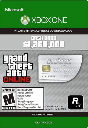 GTA V 5 ONLINE WHALE SHARK CASH CARD (XBOX ONE) CODE $1.25M $1,250,000 GTA MONEY