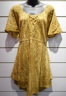Top Fits XL 1X 2X 3X Plus Tunic Gold Brown Lace Up Chest Curved Hemline NWT 787 3 Plus 2 Chest