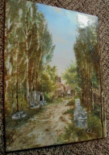 """E.. Bobere? Victorian Porcelain Plaque Hand Painted, Church, 13.25""""x9.5"""" Vintage"""