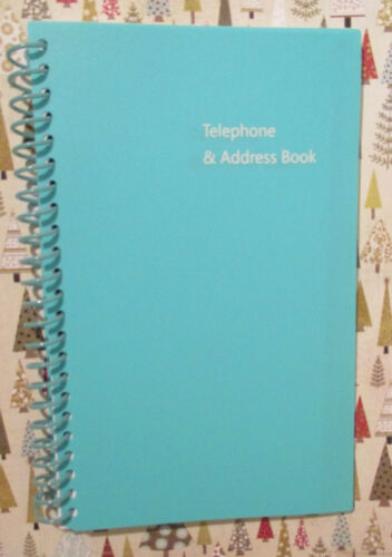 "AQUA BLUE SPIRAL TELEPHONE & ADDRESS BOOK A - Z 8X5"" LARGE BIG PRINT - EASY READ"