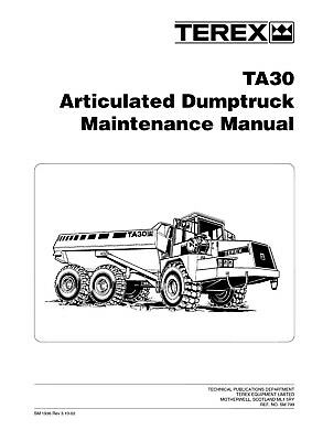 New Terex Ta30 Articulated Dump Truck Maintenance Manual 2002