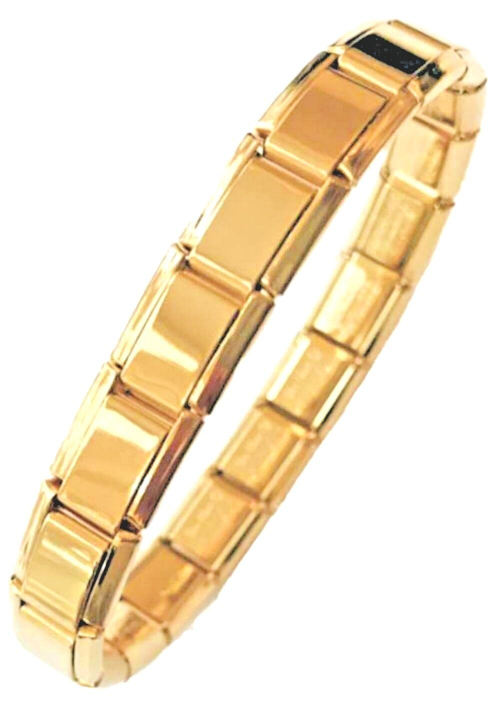 9e7a3ac1bf115 Details about 18K GOLD - LA CIMA Italian Charm 18 LINK STARTER BASE  BRACELET - Fits Nomination