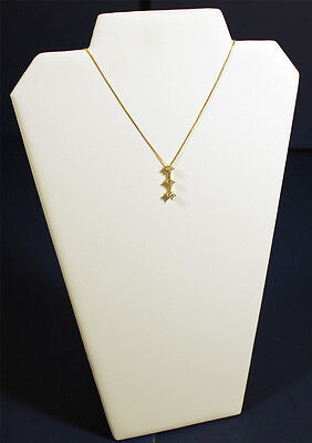 13 White Leather Pendant Chain Necklace Jewelry Display Counter-top Stand