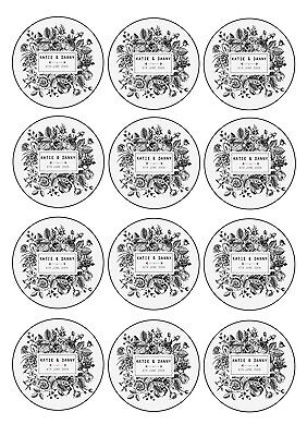 Personalised edible Cupcake Toppers wedding favour Vintage Floral 12x6cm icing](Edible Wedding Favors)