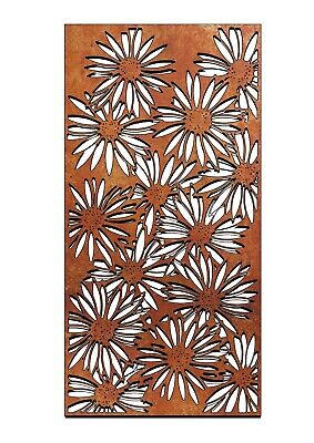Wonderful 775mm rectangular rustic Core-Ten Steel Garden Daisy wall plaque art