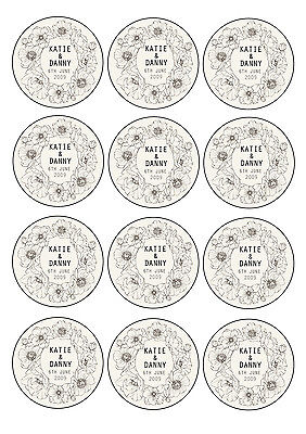Personalised edible Cupcake Toppers wedding favours Vintage Floral 12x6cm icing](Edible Wedding Favors)