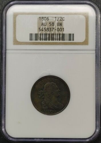 1806 DRAPED BUST 1/2 CENT NGC CERTIFIED AU 58 BN