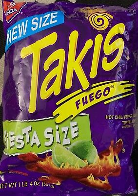 NEW BARCEL TAKIS FUEGO FIESTA SIZE HOT CHILI PEPPER LIME TORTILLA CHIPS 20 - Tortilla Chip