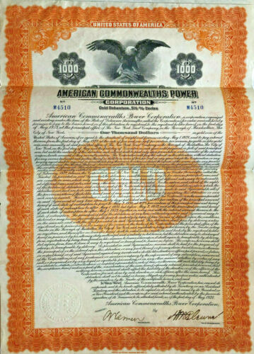 American Commonwealths Power > 1928 $1,000 gold bond certificate