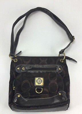 Vintage Treviso Women's Dark Brown Metallic Design Small Shoulder Handbag -