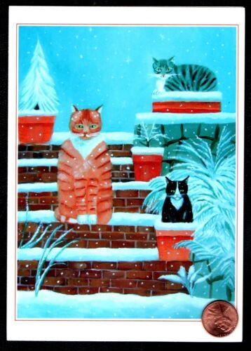 Christmas Kittens Cats Brick Planters Plants  -  Christmas Greeting Card - NEW