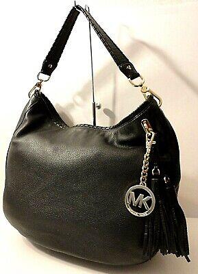 Michael Kors Blk Genuine Leather Satchel Shoulder Bag Purse MK Tassel Tag Charm