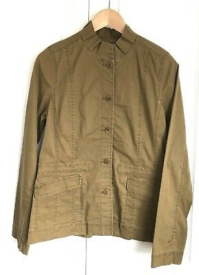 Eileen Fisher Washed Cotton Twill Ruffle Collar Jacket Olive Size XS - Washed Cotton Blend Twill
