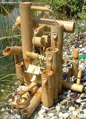 Bambus Wasserfall (Wassermühle Wasserlauf Brunnen Höhe 41cm Wasserfall Garten Holz Wasserfall )
