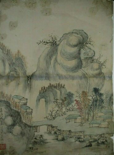 China Chinese Landscape painting on paper Dated Qing Dynasty Jiaqing 1816 AD