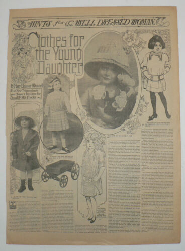 Girls Fashions for 1912,  Original Full Page Newspaper Page