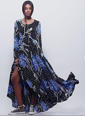 Nwt Free People First Kiss Botanical Boho Peasant Maxi Dress Size Xs Xsmall  148