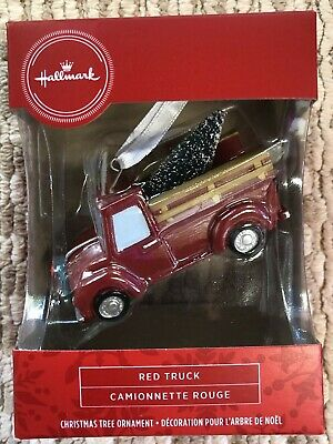 2020 Hallmark Red Box Christmas Ornament RED TRUCK with Tree & Wreath - NEW