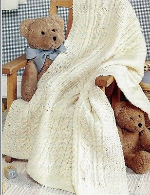 Baby Blanket Irish Knit with Cables & Moss stitch Knitting Pattern DK136