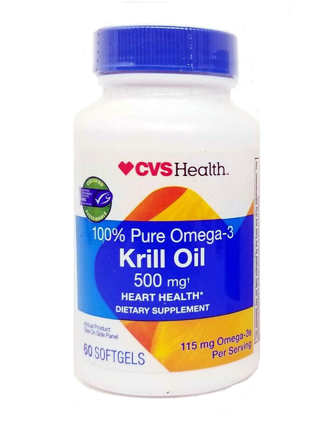 60 Softgels CVS Health 100% Pure Omega-3 Krill Oil 500mg Hea