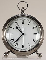 Pottery Barn Accents Pocketwatch Alarm table Clock Medium Nickel Finish