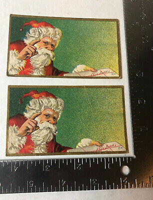 Vtg Christmas Lables Embossed Santa Claus Lot Of 2 ()
