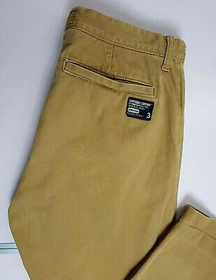 SUPERDRY MENS DENIM CHINO TROUSERS W36 L32 (L) BEIGE BUTTON FLY