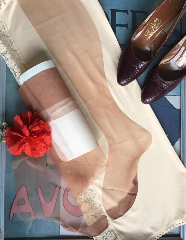 "vintage nylon stockings - First Quality flat knit 15 den seamless - 10.5 M 30"""