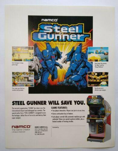 Steel Gunner Arcade FLYER Original Namco Video Game Artwork Paper Sheet 1991