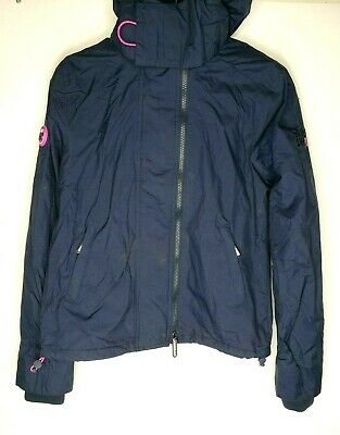 Superdry Ladies' Jacket Pop Zip Hood Arctic Windcheater Ink Navy Light Orchid