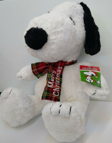 """Snoopy With Merry Christmas Scarf - 20"""" Large Plush"""